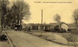 24 THIVIERS Gare Des Tramways Et Avenue De Limoges  TRAIN - Thiviers
