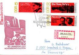 RDA. N°1113-5 De 1968 Sur Enveloppe 1er Jour Ayant Circulé. Lénine/Révolution De 1918.