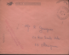 Lettre Pli De Service Des Postes Bureaux Temporaires Paris II-3 I97I Avec La Griffe Rouge Attestant La Franchise Postale - Variedades Y Curiosidades
