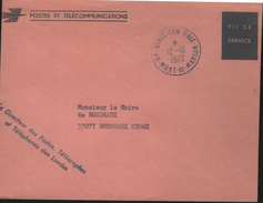 Lettre Pli De Service Des Postes, Direction Dale -40-Mont-de-Marsan I2-I0 I972 Cachets Frappés En Bleu - Variedades Y Curiosidades
