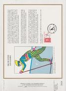 FDC FRANCE 1991  JEUX OLYMPIQUES D'ALBERTVILLE 1992  SKI DE FOND  LES SAISIES ( Document Philatélique 30 X 21 Cm )