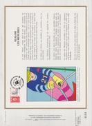 FDC FRANCE 1991  JEUX OLYMPIQUES D'ALBERTVILLE 1992  SLALOM  LES MENUIRES ( Document Philatélique 30 X 21 Cm )