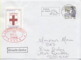 PLI GRÈVE DE 1988 3F DE MARSEILLE SUR LETTRE POUR LA SUISSE - Strike Stamps