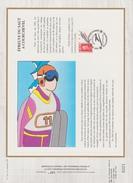 FDC FRANCE 1990  JEUX OLYMPIQUES D'ALBERTVILLE 1992  SAUT  COURCHEVEL  ( Document Philatélique 30 X 21 Cm )