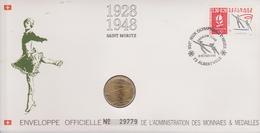 FDC FRANCE 1990  JEUX OLYMPIQUES D'ALBERTVILLE 1992  SAINT MORITZ 1928 - 1948  ( Avec Médaille  )