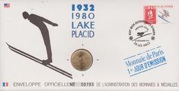 FDC FRANCE 1990  JEUX OLYMPIQUES D'ALBERTVILLE 1992  LAKE PLACID 1932 - 1980  ( Avec Médaille  )