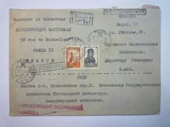 LETTRE REC  Au Départ De  RUSSIE  à Destination De Bibliothèque Nationale  PARIS  1956  XXX