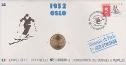 FDC FRANCE 1991  JEUX OLYMPIQUES D'ALBERTVILLE 1992  OSLO 1952 ( Avec Médaille  )