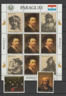 Paraguay 1983 Paintings Rembrandt Sheetlet + 2 Stamps MNH