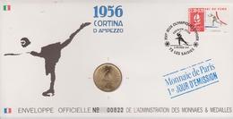 FDC FRANCE 1991  JEUX OLYMPIQUES D'ALBERTVILLE 1992  CORTINA D'AMPEZZO 1956 ( Avec Médaille  )