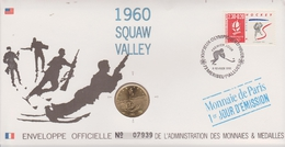 FDC FRANCE 1991  JEUX OLYMPIQUES D'ALBERTVILLE 1992  SQUAW VALLEY 1960 ( Avec Médaille  )