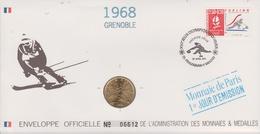 FDC FRANCE 1991  JEUX OLYMPIQUES D'ALBERTVILLE 1992  GRENOBLE 1968 ( Avec Médaille  )