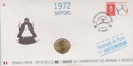 FDC FRANCE 1991  JEUX OLYMPIQUES D'ALBERTVILLE 1992  SAPPORO 1972 ( Avec Médaille  )