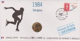 FDC FRANCE 1991  JEUX OLYMPIQUES D'ALBERTVILLE 1992  SARAJEVO 1984 ( Avec Médaille  )