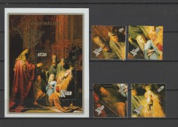 Niue 1988 Paintings Rembrandt Set Of 4 + S/s MNH