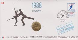 FDC FRANCE 1991  JEUX OLYMPIQUES D'ALBERTVILLE 1992  CALGARY 1988 ( Avec Médaille  )