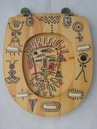 Tête Homme Visage Sur Abattant Bois Wc Toilettes,  Art Moderne D'inspiration Aboriginal Art Aborigène Peinture, Tableau - Autres Collections