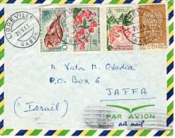 "Gabon, Gabonaise, Congo-Israel 1963 ""Anti Malaria, Fish, Flowers"" Mailed Cover 5 - Gabon"