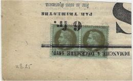 1870- Paire N°25 Sur  Grand Fragment Oblit. Typographique - 1863-1870 Napoléon III Lauré