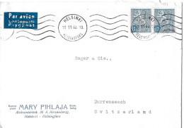 HELSINKI - DÜRRENÄSCH → Luftpostbrief/Flypost Helsinki 11.11.1963 - Finlande