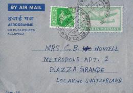 KALKUTTA - LOCARNO → Luftpostbrief/Flypost Calcutta 19.12.1963