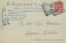 """06364 """"A. ALASONATTI I FIGLI - SARTI DI S.M. E R.R. PRINCIPI - TORINO"""" CART. ILL. ORIG. SPEDITA 1904 - Negozi"""