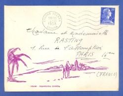 COLOMB BECHAR - SAOURA - ALGERIE - LETTRE DECOREE, ILLUSTREE - VOYAGEE - 1958 - BEAU CACHET. - Algérie (1924-1962)