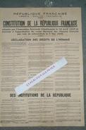 POLITIQUE - AFFICHE CONSTITUTION REPUBLIQUE FRANCAISE -ASSEMBLEE NATIONALE 19 AVRIL 1946- REFERENDUM 5 MAI 1946-DROITS - Afiches