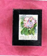 ITALIA REPUBBLICA ITALY REPUBLIC 1983 FLORA FIORI FLOWERS RODODENDRO  FIORE FLOWER USATO USED OBLITERE´ - 1981-90: Oblitérés