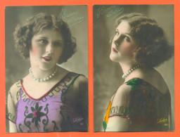 """Suite De 2 CPA Bonne Année """"  Belle Femme Avec Collier De Perles """" - Women"""