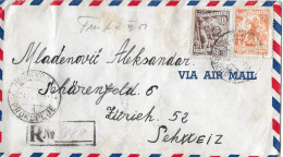 PROKUPLUJE - ZÜRICH → R-Air Mail/Luftpostbrief Mit Stempel Prokupluje 24.03.1951 ►Chargé◄ - 1945-1992 République Fédérative Populaire De Yougoslavie