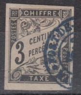 #108# COLONIES GENERALES TAXE N° 3 Oblitéré En Bleu Fort-de-France (Martinique)