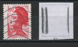 """FRANCE  - LIBERTÉ  1,60 ROUGE """"3 PHO """" (2 À GAUCHE & 1 FILET À DROITE)  N° YT 2187 OBLIT. - 1982-90 Liberty Of Gandon"""