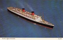 RMS Queen Elizabeth - Ocean Liner - Paquebot Boat Bateau - 2 Scans