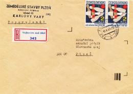 K9334 - Czechoslovakia (1987) Vojkovice Nad Ohri (R-letter) Tariff 4 Kcs (stamp: 50th Anniversary Of Bowling Association