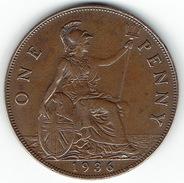 Great Britain, One Penny 1936 - 1902-1971 :  Post-Victoriaanse Muntstukken