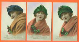 """Suite De 3 CPA Bonne Année """" Belle Femme Avec Chapeau Et Houx """" - Women"""