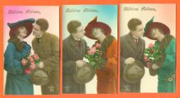 """Suite De 5 CPA Bonne Année """" Couple Femme Et Homme Avec Chapeau """" 2 Scans - Couples"""