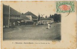 3   Reunion St Denis Gare De Chemin De Fer Cliché L.A.G. Ecrite De Rivière St Louis 1914 Timbrée - Saint Denis