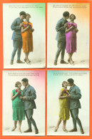 """Suite De 4 CPA Romantiques """" Femme Et Militaire - Soldat """" - Couples"""