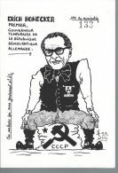 Carte Dessinée à La Mains LARDIE N°133  - Erich HONECKER Gouverneur Temporaire De La République Démo Allemande - Lardie