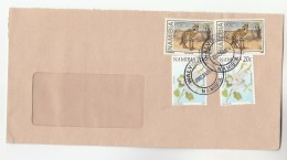 Walvis Bay NAMIBIA  COVER Stamps  2x 1.10 WILD CAT,  2x 20c FLOWER Camels Foot Flowers - Namibia (1990- ...)