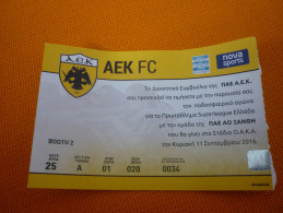 AEK-Skoda Xanthi Superleague Football Match Ticket Stub 11/09/2016 (hologram) - Tickets D'entrée