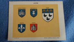 FEUILLE DEPARTEMENT DE L AISNE BLASON R LOUIS  PREFECTURE SOUS PREFECTURE HERALDIQUE ARMOIRIES - Vieux Papiers