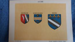 FEUILLE DEPARTEMENT DE L AUBE 10  BLASON R LOUIS PREFECTURE SOUS PREFECTURES HERALDIQUE ARMOIRIES - Vieux Papiers