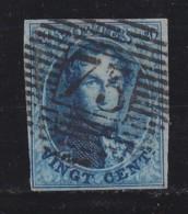BELGIUM, 1858, Used Stamp(s), Leopold !, Blue 20 Cent, MI 8, #10254, - 1858-1862 Medallions (9/12)