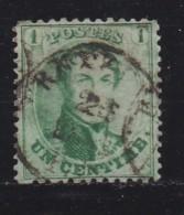 BELGIUM, 1863, Used Stamp(s), Leopold !, Green 1 Cent, MI 10, #10256, - 1863-1864 Medallions (13/16)