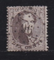 BELGIUM, 1863, Used Stamp(s), Leopold !, Brown 10 Cent, MI 11, #10257, - 1863-1864 Medallions (13/16)