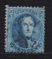 BELGIUM, 1863, Used Stamp(s), Leopold !, Blue 20 Cent, MI 12, #10258, - 1863-1864 Medallions (13/16)
