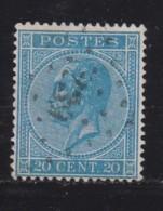 BELGIUM, 1865, Used Stamp(s), Leopold !, Blue 20 Cent, MI 15, #10260,